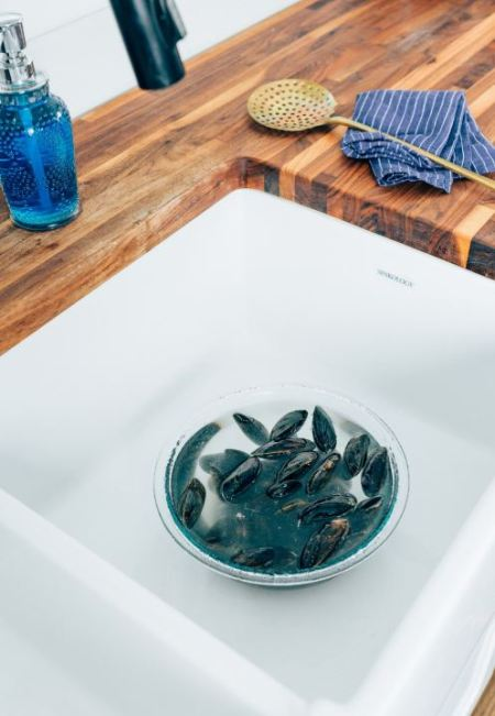 mussels - soaking in water
