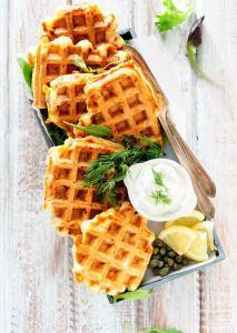 Dill waffles and salmon