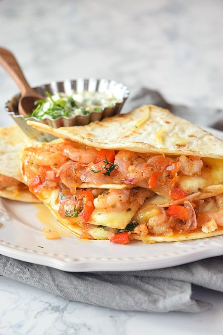 Mexican seafood  - Shrimp quesadilla