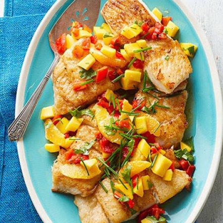 seafood meal plan - Whitefish with mango-orange relish