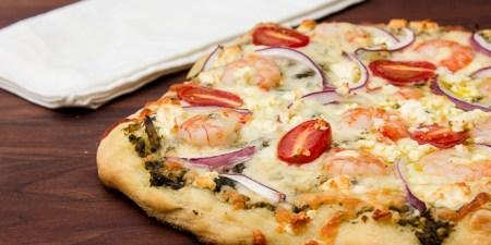 healthy summer- Shrimp and pesto pizza