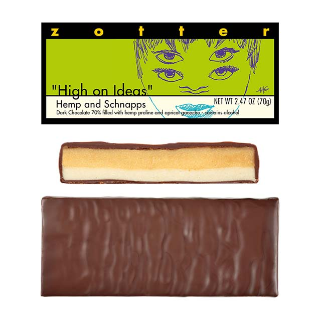 "Zotter ""High on Ideas"" Hemp and Schnapps Hand-Scooped Chocolate Bar"