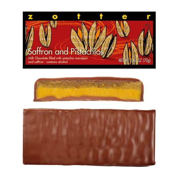 Zotter Saffron and Pistachios chocolate bar