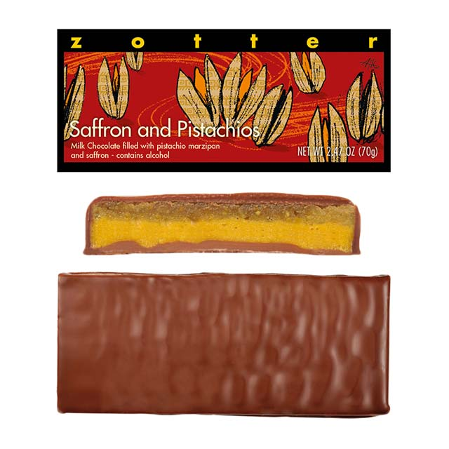 Zotter Saffron and Pistachios Hand-Scooped Chocolate Bar