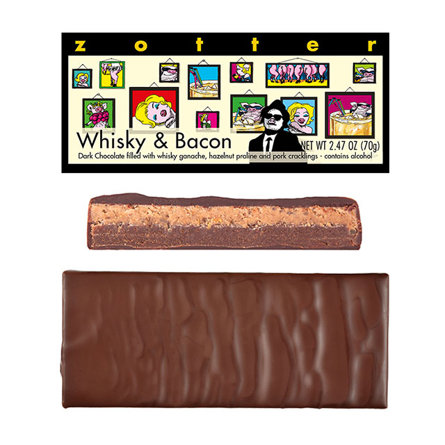 Zotter Whisky & Bacon Hand-Scooped Chocolate Bar