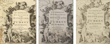 From left to right: William Faden, Detail of a Map of the European Dominions of the Ottomans or Turkey in Europe, 1:2,900,000, London, 1795. Photograph courtesy of the David Rumsey Map Collection (Image n°2104040); James Wyld the Elder, Detail of a Map of the European Dominions of the Ottomans or Turkey in Europe, 1:2,900,000, London, 1824. Photograph courtesy of Wayfarer Books; James Wyld the Younger, Detail of a Map of the European Dominions of the Ottomans or Turkey in Europe, 1:2,900,000, London, ca.1854. Photograph courtesy of the BNF (Cartes et Plans GE DD- 1855).