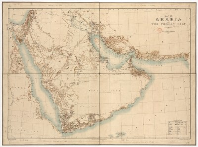 F. Fraser Hunter, Map of Arabia and The Persian Gulf, 1: 3,041,280, (Dehradun, 1908). Size of the original: 85 × 60 cm Photograph courtesy of the BNF (Cartes et Plans GE C- 4112 (1–2)).