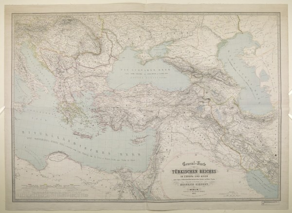 Heinrich Kiepert, General Karte des Türkischen Reiches in Europa und Asien nebst Ungarn, Südrussland, den Kkaukasischen Ländern und West-Persien, scale 1:3,000,000, 88 × 123 cm, (Berlin,: Kiepert, 1855). British Library: Map Collections, IOR/X/3141, in Qatar Digital Library (Public Domain).
