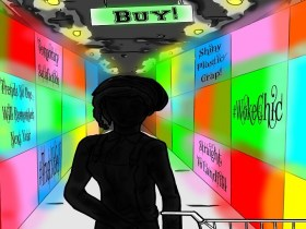 colorful boxes and woman in silhouette looking for #wokeshopping Illustration by JA Laflin