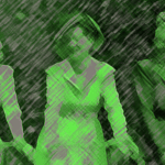 Green sketch of 3 women wearing turbans and leaning on bicycles