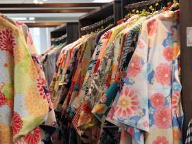 racks of colorful kimonos