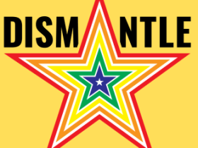 Dismantle star logo on yellow background from publicity kit flyer