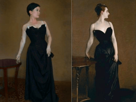 side by side images of Catherine Fung in a black dress and the famous portrait of Madame X in a similar dress and pose
