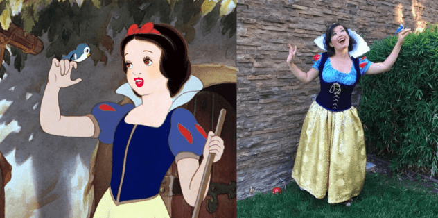 side by side pictures of Snow White from the 1939 film and Catherine Fung in costume
