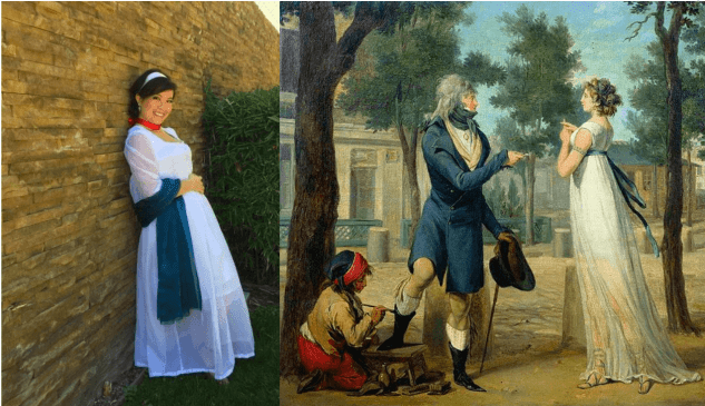 side by side images of Catherine Fung in historical costume a long white dress with low neckline and an 18th century image of a merveilleuse
