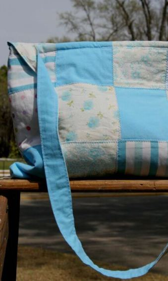 Missy Caudill upcycled blue patchwork tote bag