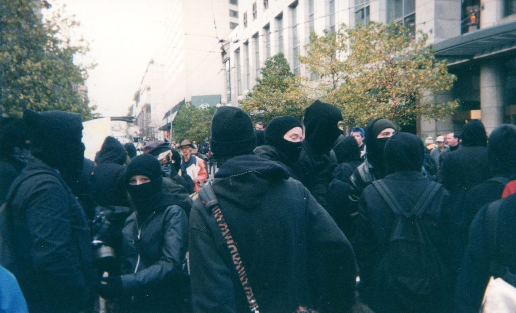 Black bloc protesters in Seattle.