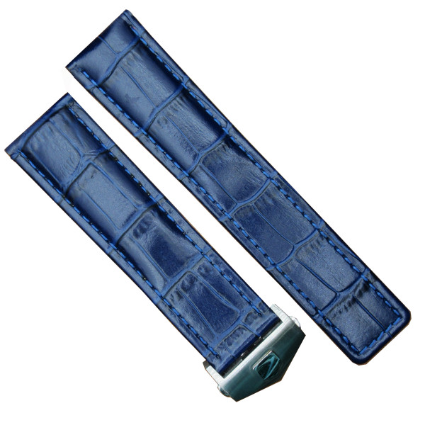 20mm Blue Leather Watch Band Strap Made For Baume & Mercier Clifton 10422