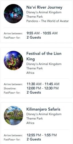 Animal Kingdom Fastpass selections