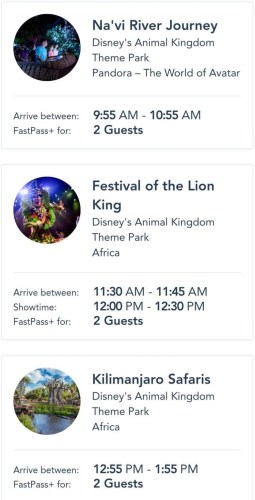 Animal Kingdom Fastpass selections
