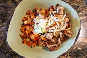 Chicken bowl with potatoes. Gluten and dairy free.
