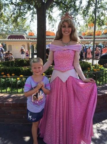 Aurora at the front gate in Disneyland