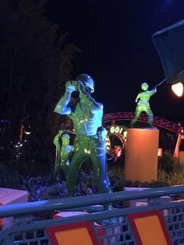 green army men toy story land night