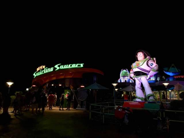 alien swirling saucers at night