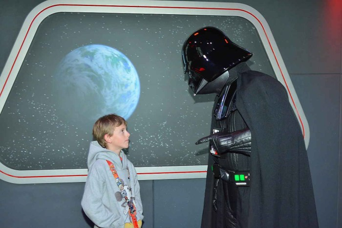 Darth Vader trying to convince my son to go to the dark side