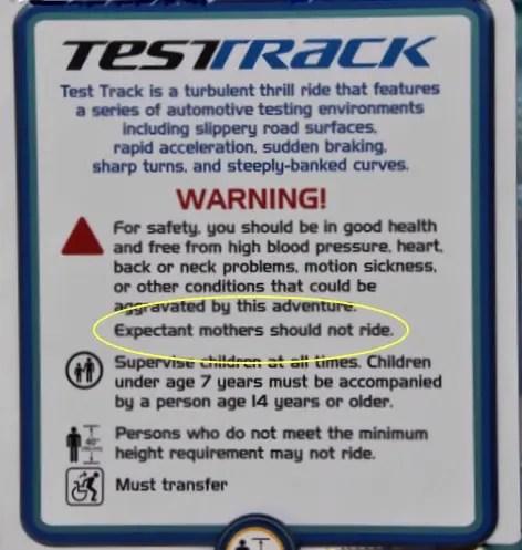 Test Track Warning Sign