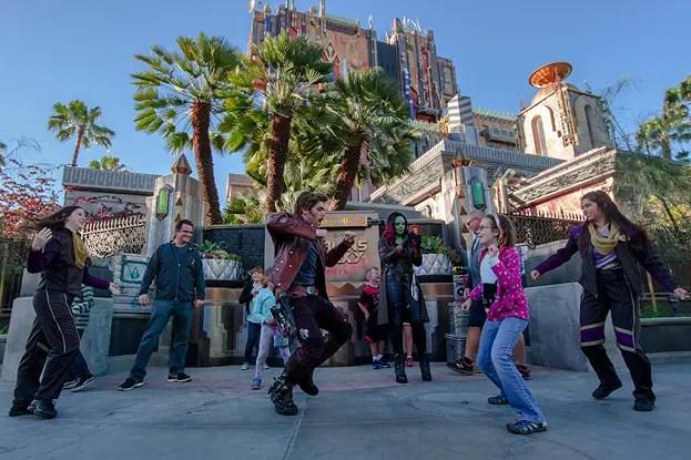 Star lord, Gamora, and Groot in Disney's California Adventure