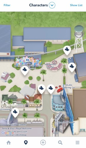 Character meet and greet map in DCA