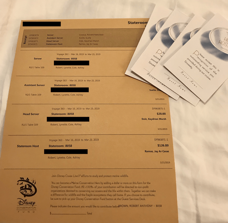 DCL Gratuities letter & envelopes