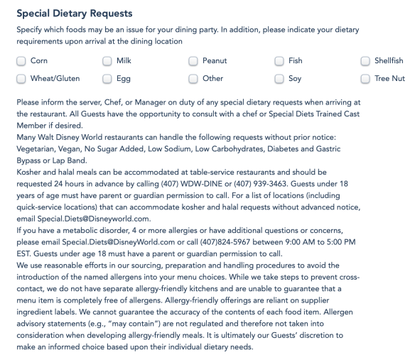 Food Allergies Dietary Restrictions Walt Disney World