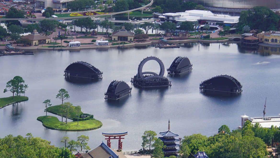 Aerial View Of Epcot's Harmonious Barges