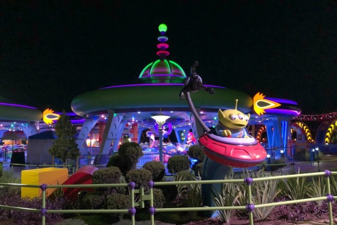 Toy Story Land Alien Swirling Saucers at Night