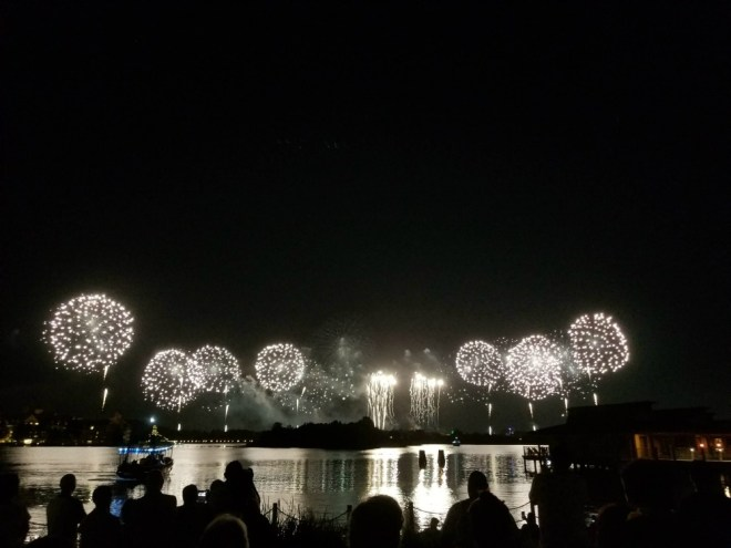 Polynesian resort beach fireworks