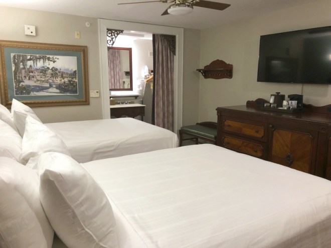 Port Orleans French Quarter and Riverside Resort Review and Tips - French Quarter Bedroom and Bathroom