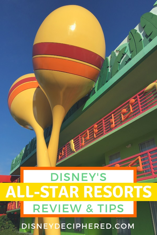 Are Disney's All-Star Resorts right for your vacation? Tips for staying in All-Star Movies, Music, and Sports - three value resorts at Walt Disney World. Restaurants, amenities, on-property perks, room types and more. #Disney #DisneyDeciphered #DisneyWorld #DisneyHotel