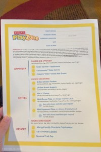 Disney Kids Club Allergy Fiendly Menu