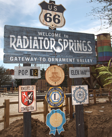 Radiator Springs Entrance Population Sign