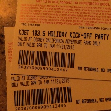 Kost 1035 Fm Disney California Adventure Holiday Kickoff Private Party 2013 Tickets