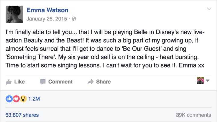 Emma Watson Beauty And The Beast Belle Casting Announcement Facebook