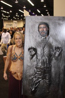 Star Wars Celebration Anaheim Disneyexaminer Cosplay Han Solo Carbonite Slave Leia