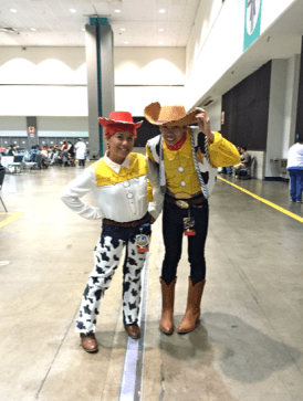Here is our very own DisneyExaminer, Zeila dressed up as Jessie with her boyfriend dressed up as Woody!