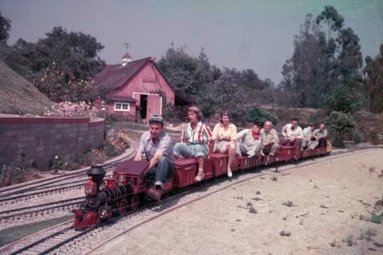 Walt Disney drives his miniature railroad. via outsider almanac
