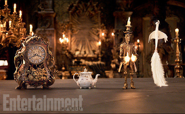 Beauty and the Beast (2017) The mantel clock Cogsworth, the teapot Mrs. Potts, Lumiere the candelabra and the feather duster Plumette From http://www.ew.com/gallery/beauty-and-the-beast-photos