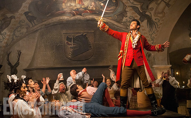 Beauty and the Beast (2017) Gaston (Luke Evans) a handsome but arrogant brute, holds court in the village tavern. From http://www.ew.com/gallery/beauty-and-the-beast-photos