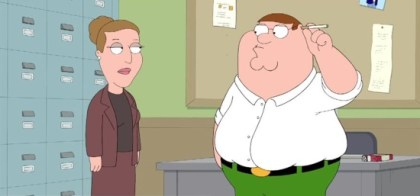 "FAMILY GUY: Peter learns how to smoke cigarettes in the all-new ""Secondhand Spoke"" episode of FAMILY GUY airing Sunday, March 30 (8:30-9:00 PM ET/PT) on FOX. FAMILY GUY ™ and © 2014 TCFFC ALL RIGHTS RESERVED. From: http://comicbook.com/blog/2014/03/30/family-guy-season-12-episode-15-secondhand-spoke/"