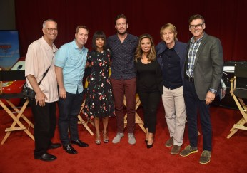 From L-R: Producer Kevin Reher, director Brian Fee, actors Kerry Washington, Armie Hammer, Cristela Alonzo, Owen Wilson, and Ray Evernham